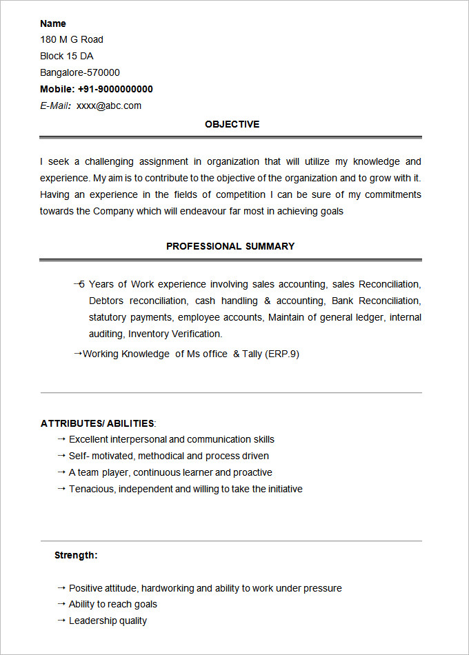 Basic Resume Template 2019 List of 10+ Basic Resume Templates