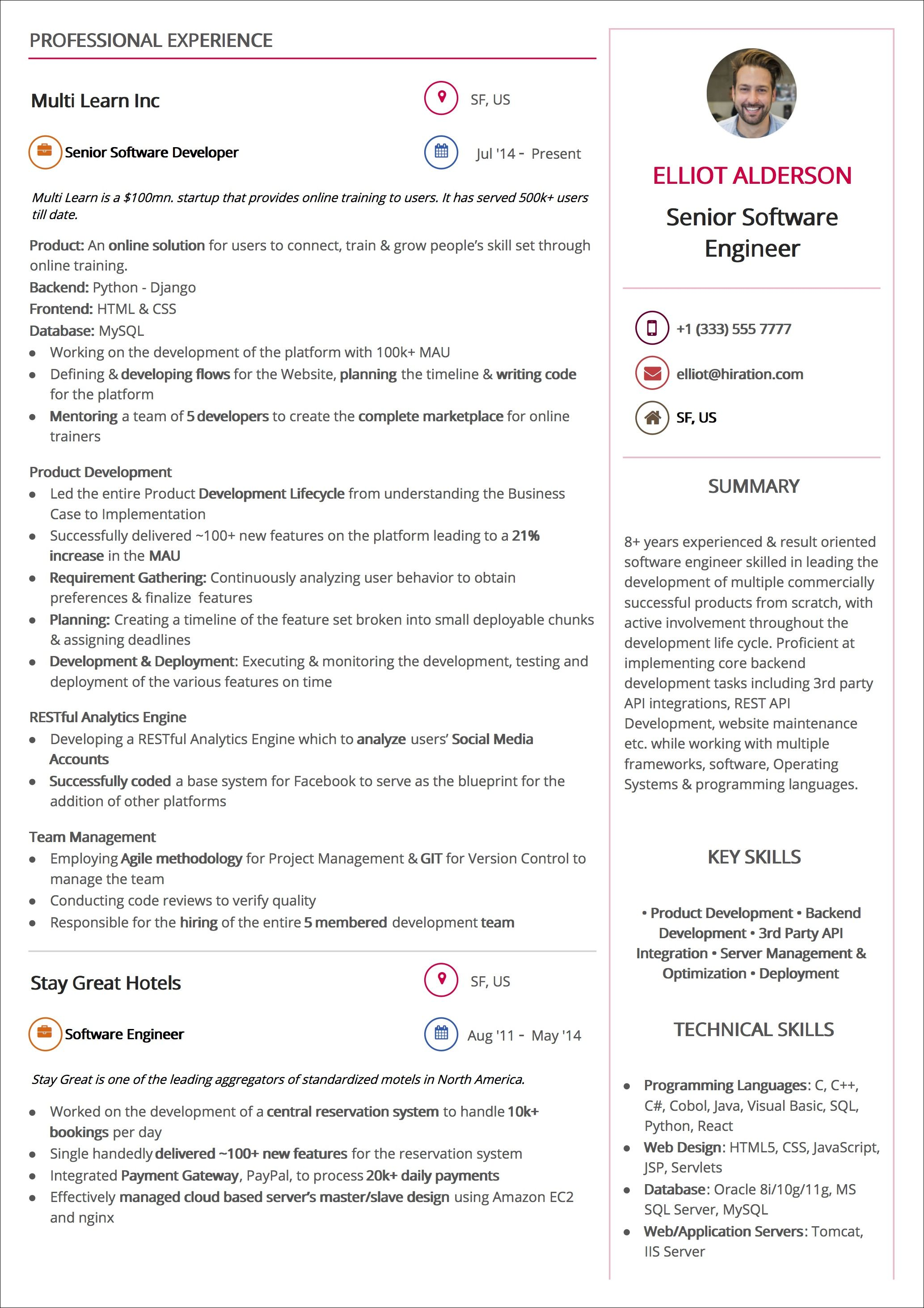 resume templates with pics