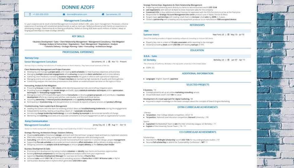 Management Consultant Resume 2019 Guide 10 steps with Sample