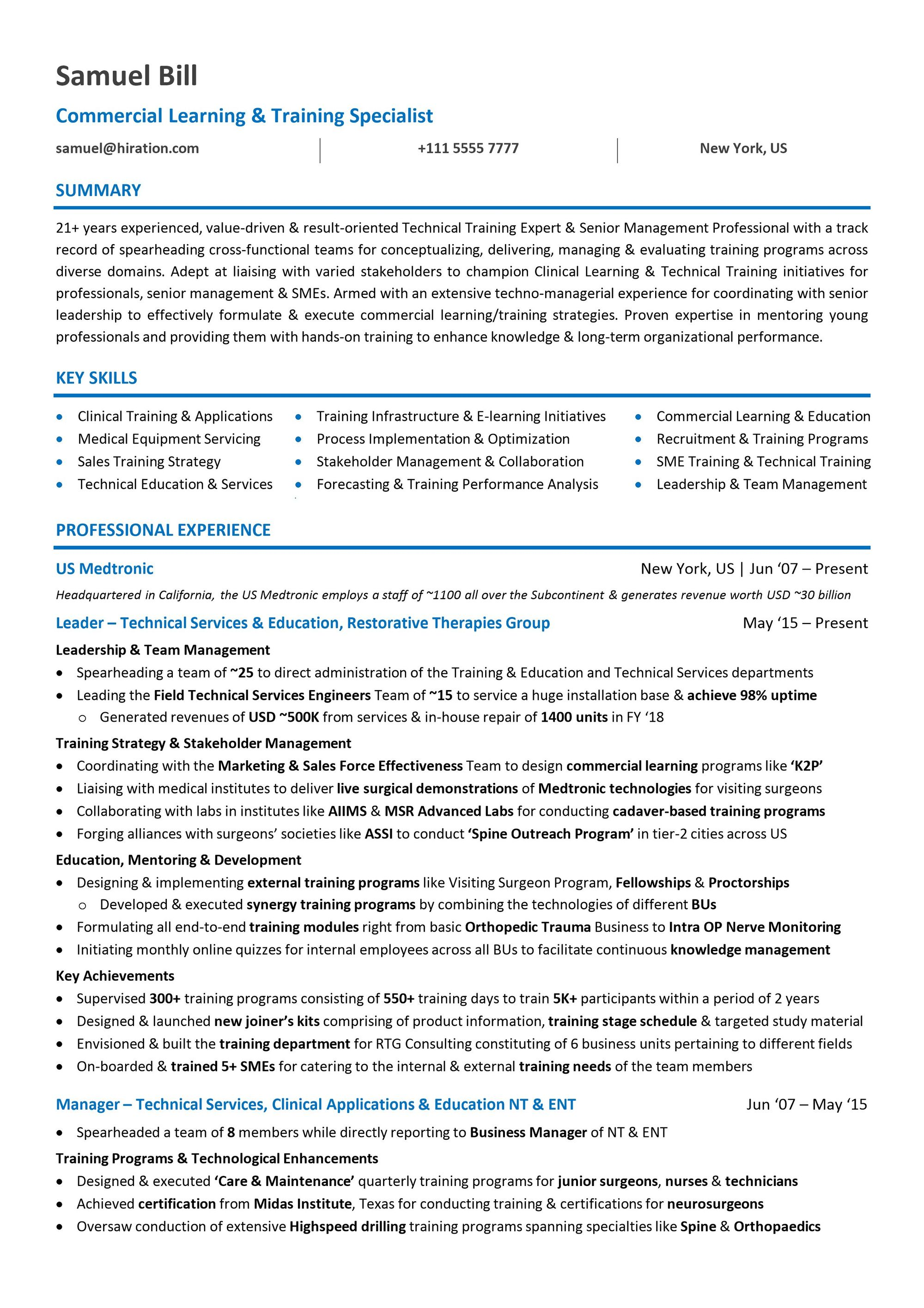 mid career management resume template