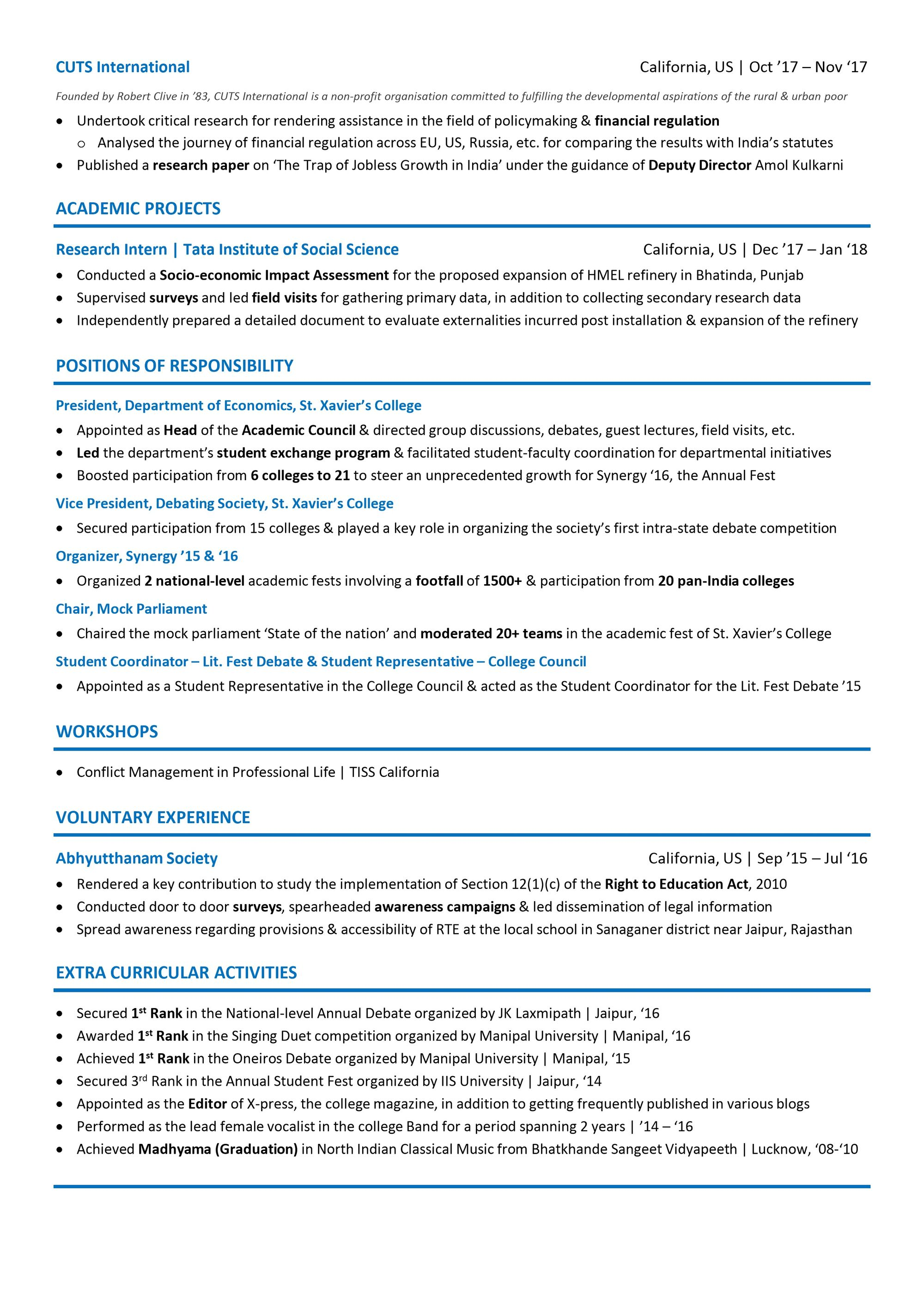 career cv example
