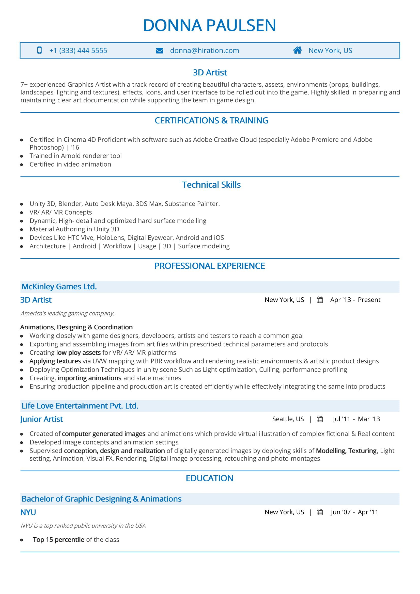 import resume template