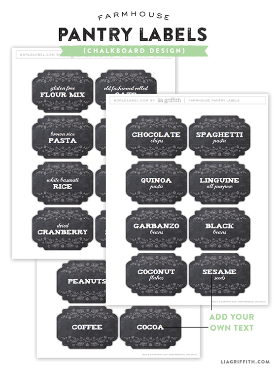 Printable Farmhouse Pantry Labels