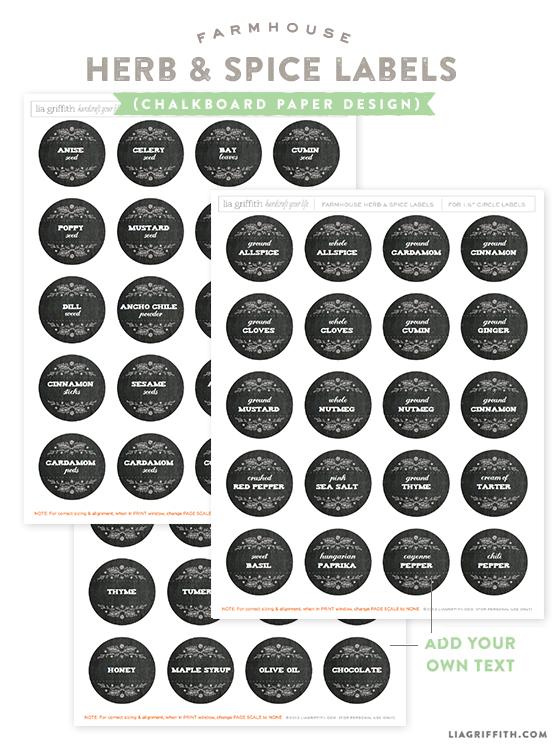 Printable Herb and Spice Jar Labels