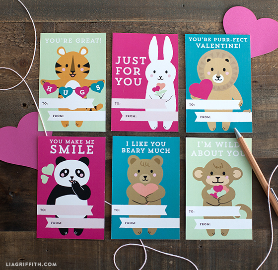 Find Cute Printable Kid\u0027s Valentine\u0027s Day Cards by Lia Griffith