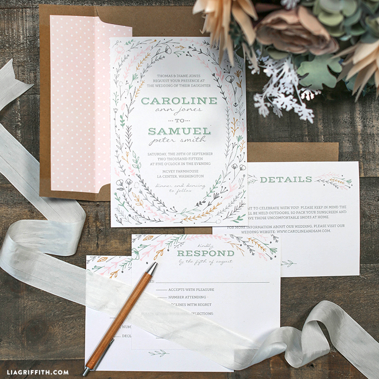 Printable Rustic Wedding Invitations - Lia Griffith - rustic wedding invitation