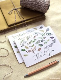 Fall Leaf Watercolor Thank You Cards