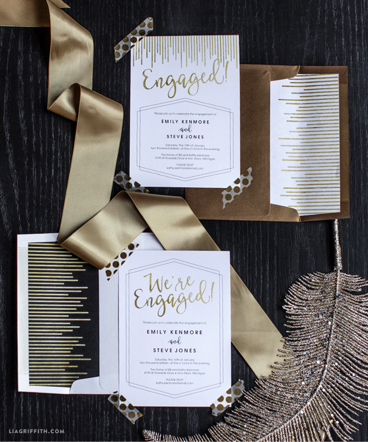 Printable Engagement Party Invitations - Lia Griffith