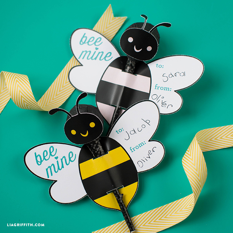 Valentine Lollipops Bumble Bee Valentines for Kids