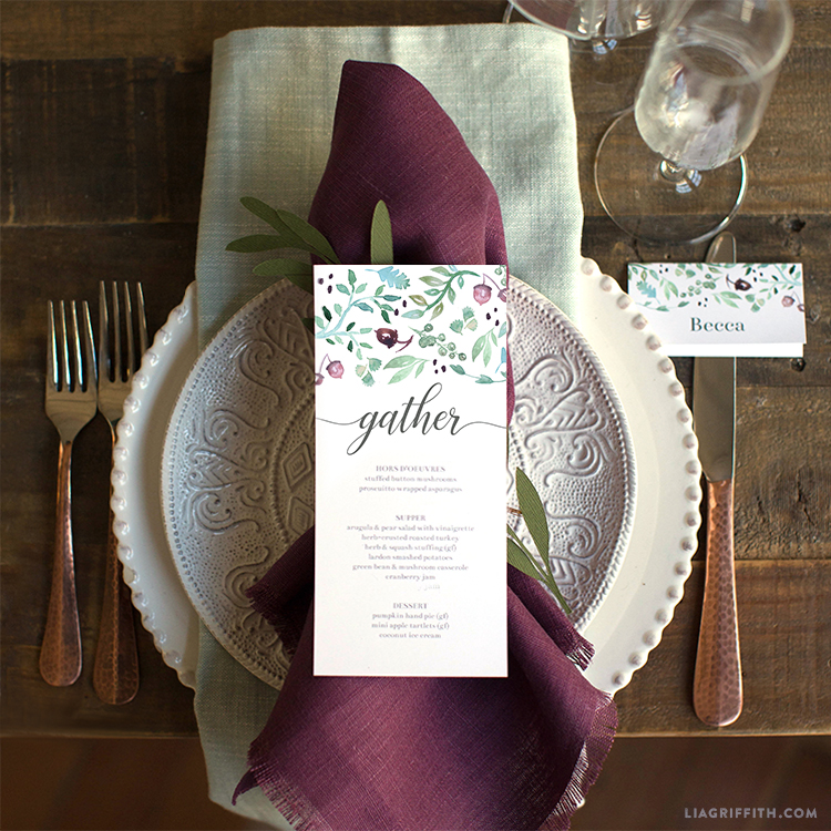Printable Thanksgiving Menus  Place Cards - Lia Griffith