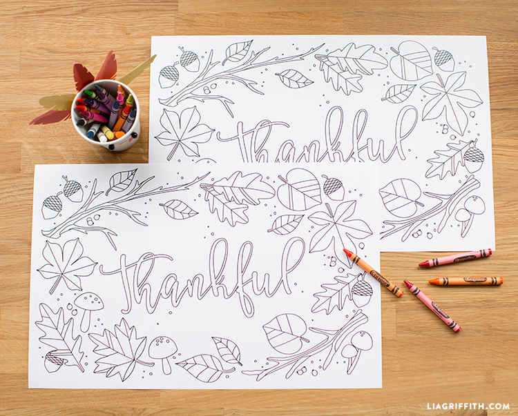 Kids Thanksgiving Coloring Placemats - Lia Griffith