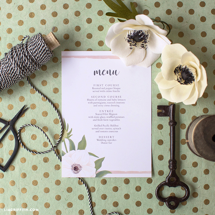 Download and print anemone wedding menu cards