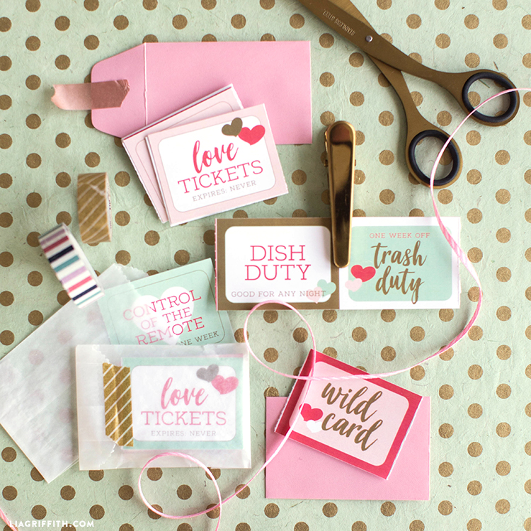 Download a set of cute printable love coupons for Valentine\u0027s Day