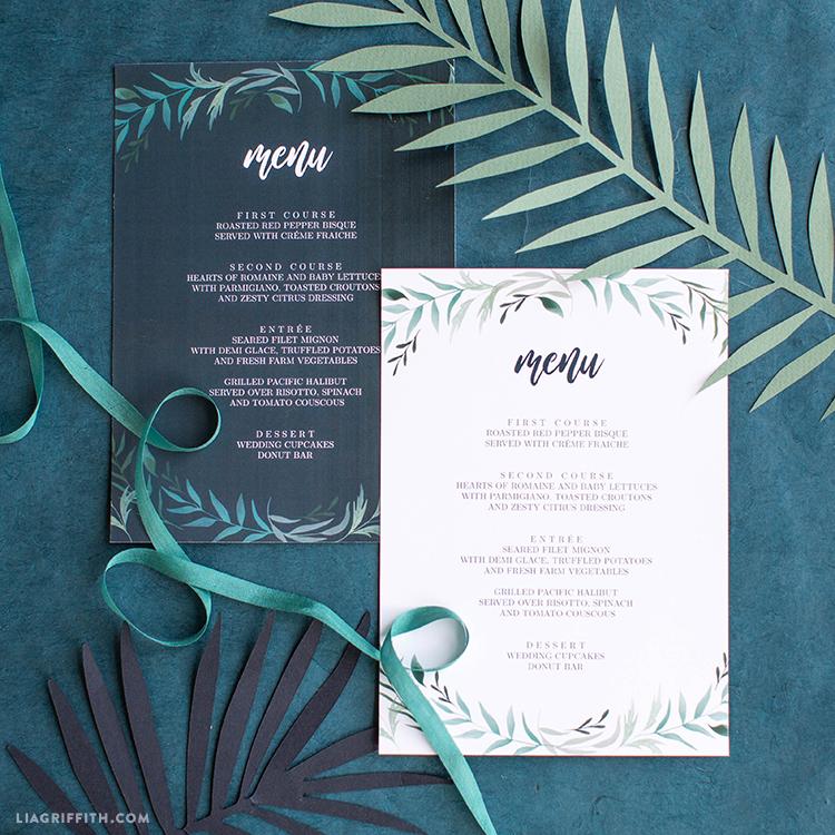 Greenery Wedding Menu Templates to Download and Print