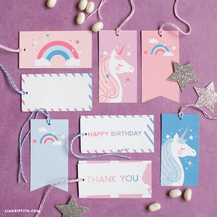 Download and print unicorn gift tags for your next clebration