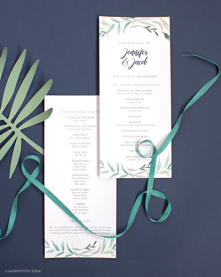 Download and Print Your Greenery Wedding Program Template - how to design wedding program template