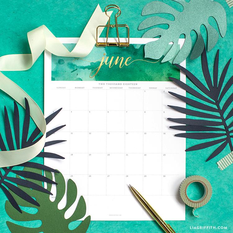FREE Printable June 2018 Calendar - Download and Print