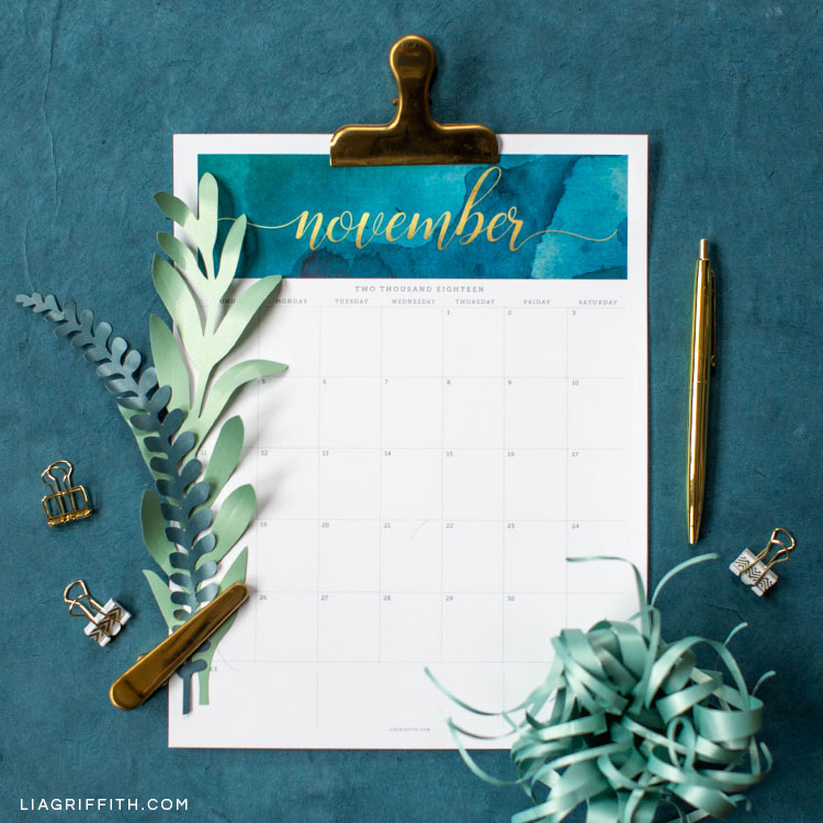 FREE November 2018 Printable Calendar - Lia Griffith