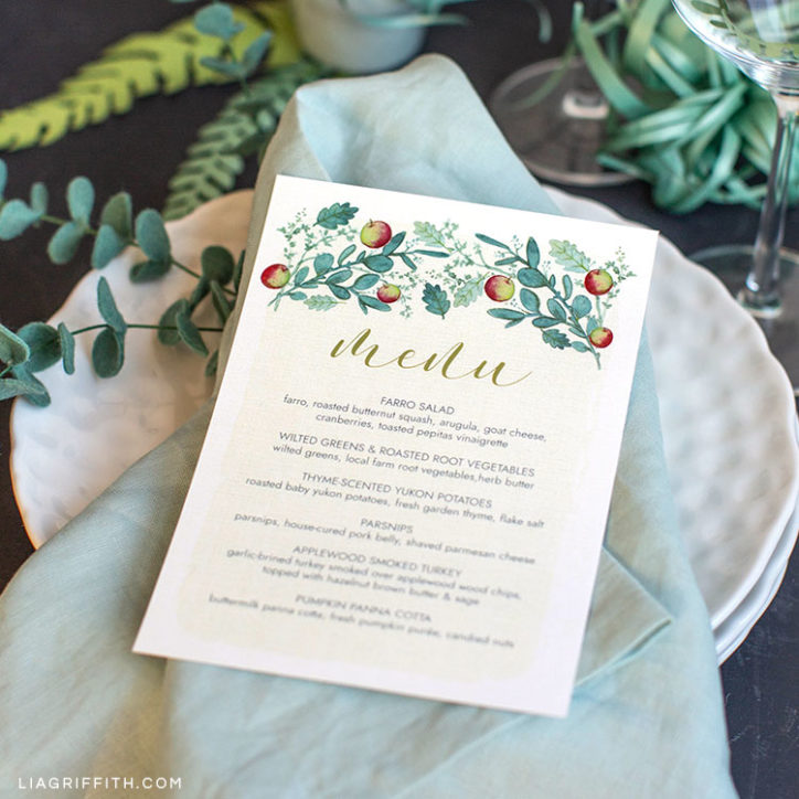 Printable Thanksgiving Dinner Menus for Your Table - Lia Griffith