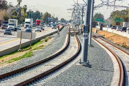 Looking west on the stretch of new tracks in Arcadia that run in the median of the busy and oft-congested 210 freeway.