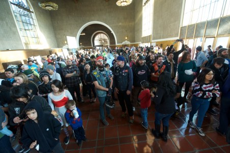 A huge crowd gathered at Union Station's Old Ticketing Room for Bike Night!