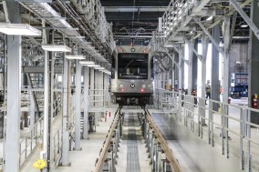 A light rail car at the new maintenance campus in Monrovia.