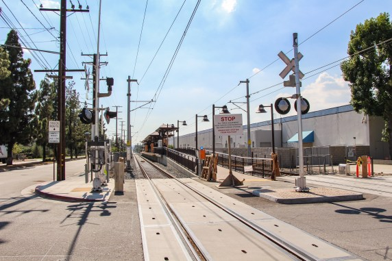 The view from Highland Avenue looking west toward the Duarte Station.