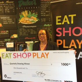Grand Prize winner from Crenshaw/LAX area: Sharon Allen of Los Angeles/ Dulan's on Crenshaw.