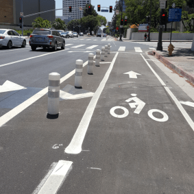 The protected bike lane on Los Angeles Street.
