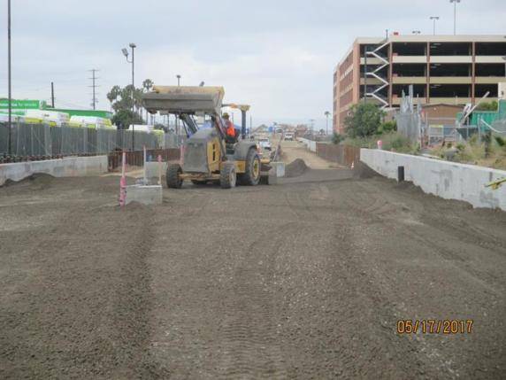 Sub-ballast on the section of track where the future 96th Street will be built -- this is where riders will transfer to the LAX people mover serving terminals.