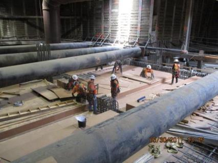 Installation of the formwork for the concourse deck section at Leimert Park Station.