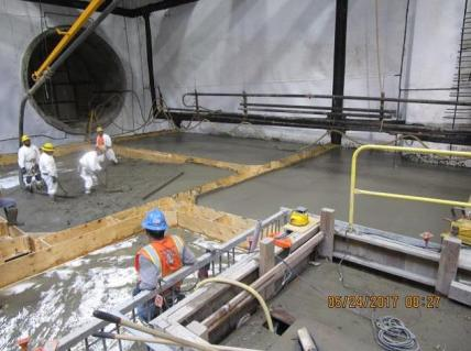 Placement of protection slab in Martin Luther King, Jr. Station.