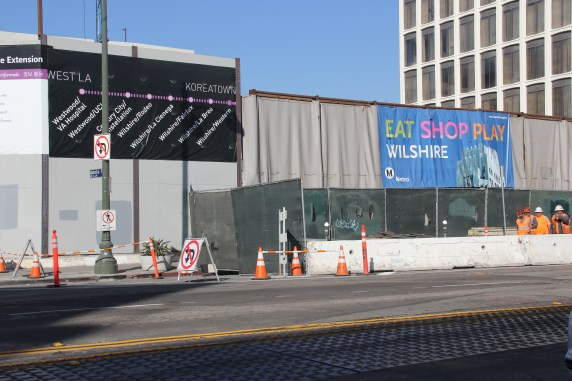 The view of the work zone at Wilshire/Western, the current terminus of the Purple Line. Photos: Metro.