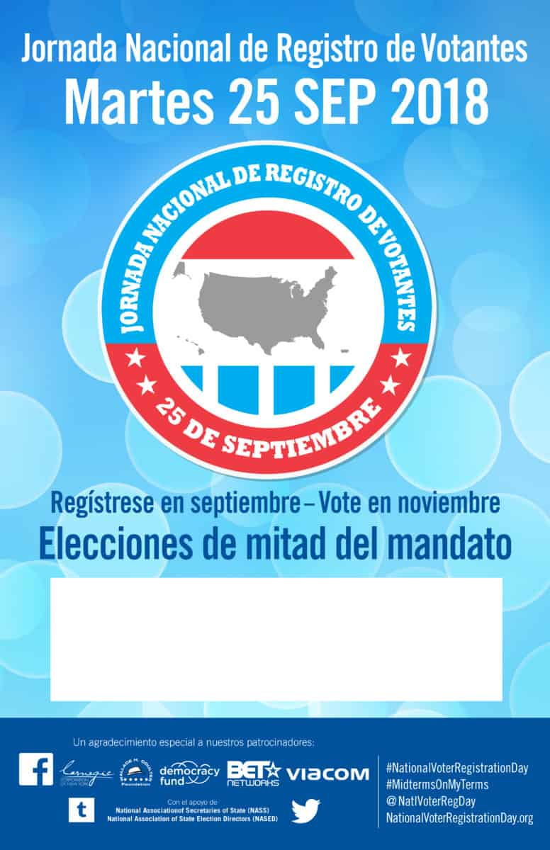 Poster In Spanish National Voter Registration Day 2018 Posters National Voter