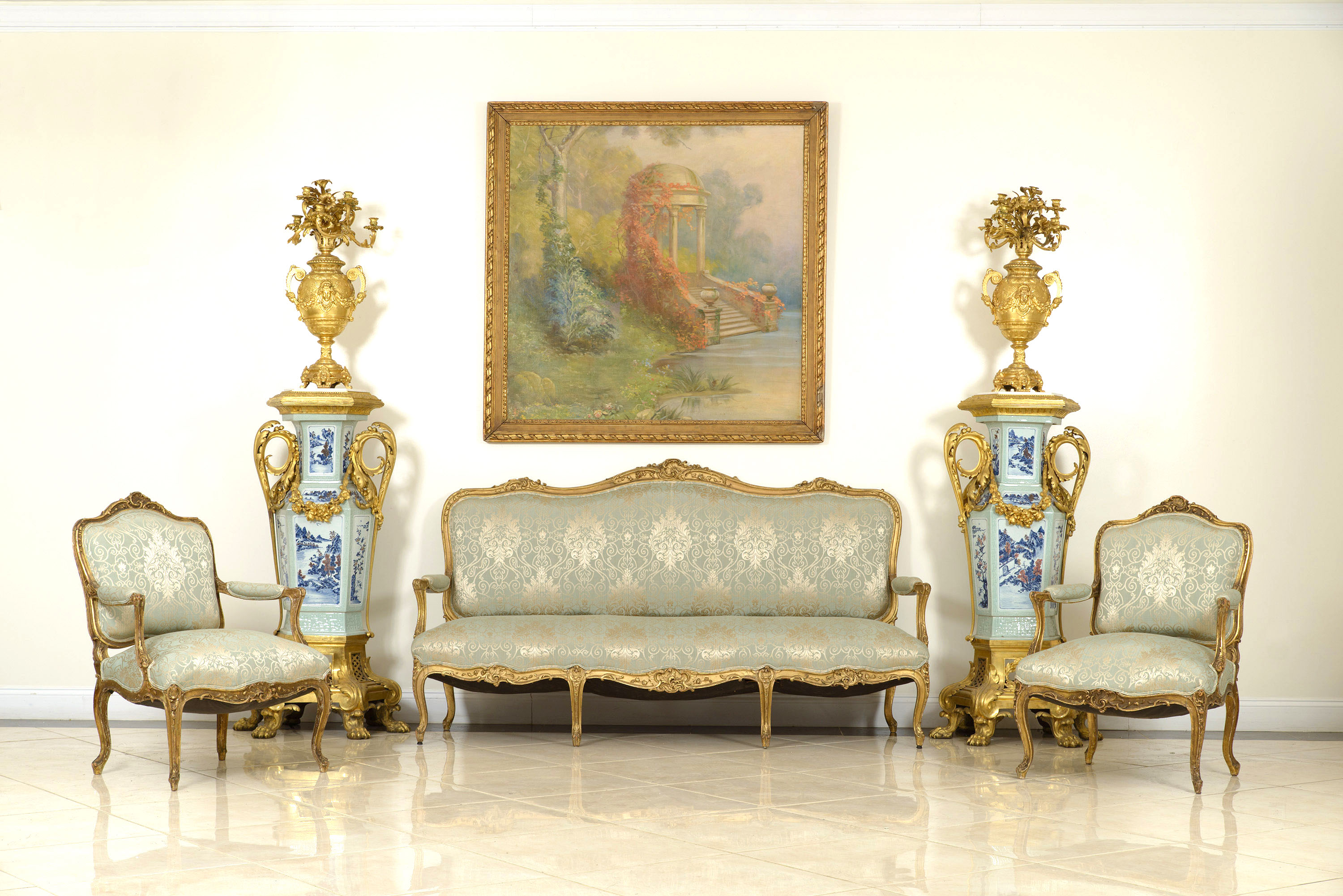 Living Room In French About Us French Louis Xv Green Damask Living Room Set