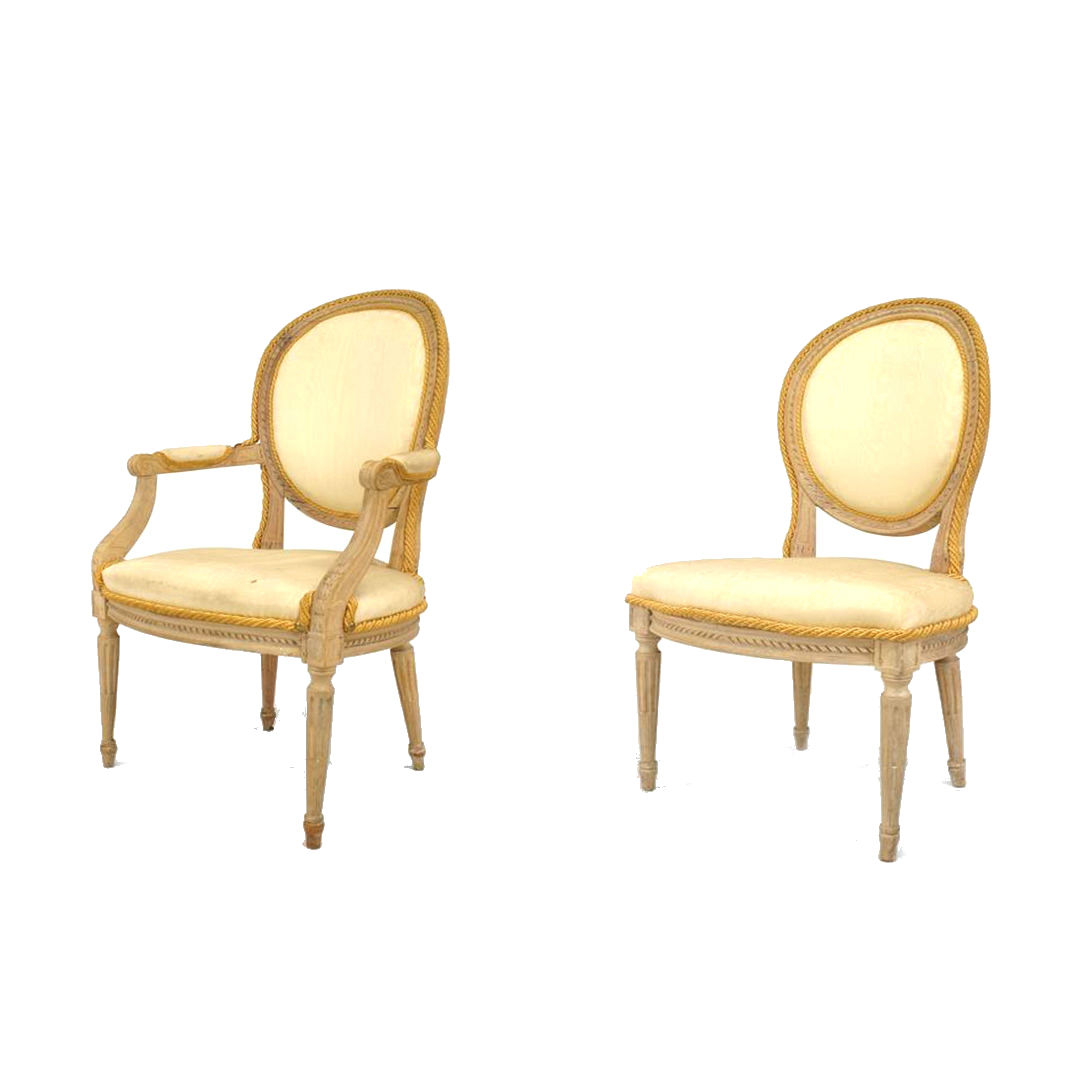 French Louis Xvi Stripped Bleach Dining Chairs 1