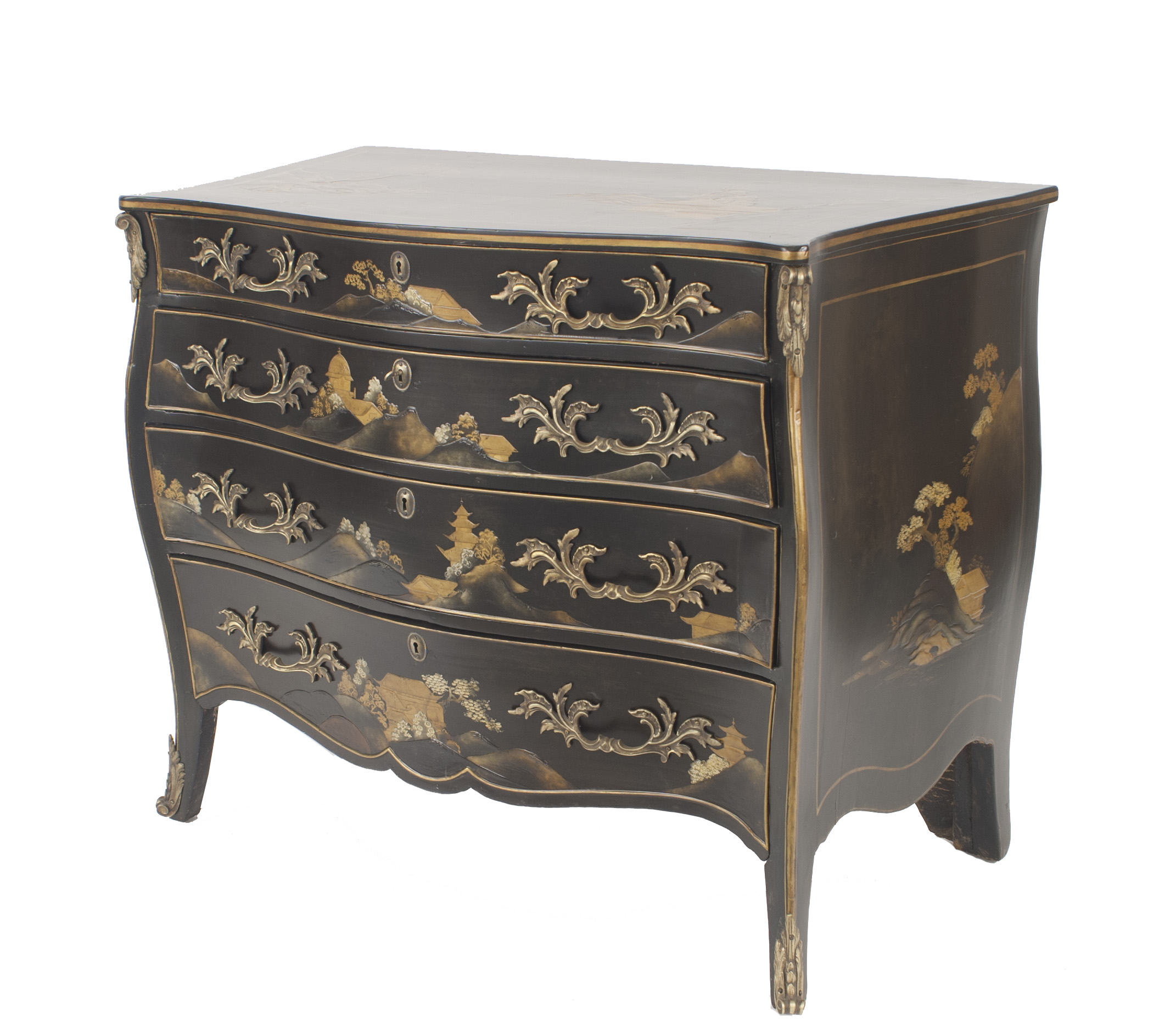 Commodes Louis 15 About Us French Louis Xv Style 20th Cent Black Lacquered Chinoiserie Decorated Commode With A Bombe Shape And 4 Drawers With Bronze Trim