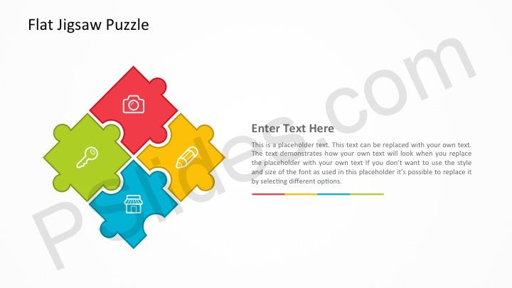 Free Flat Jigsaw Puzzle PowerPoint Template