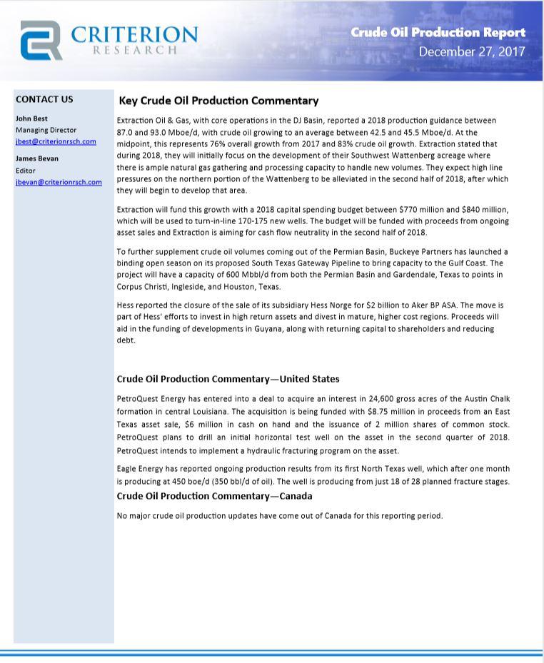 Biweekly Crude Oil Upstream Production Highlights