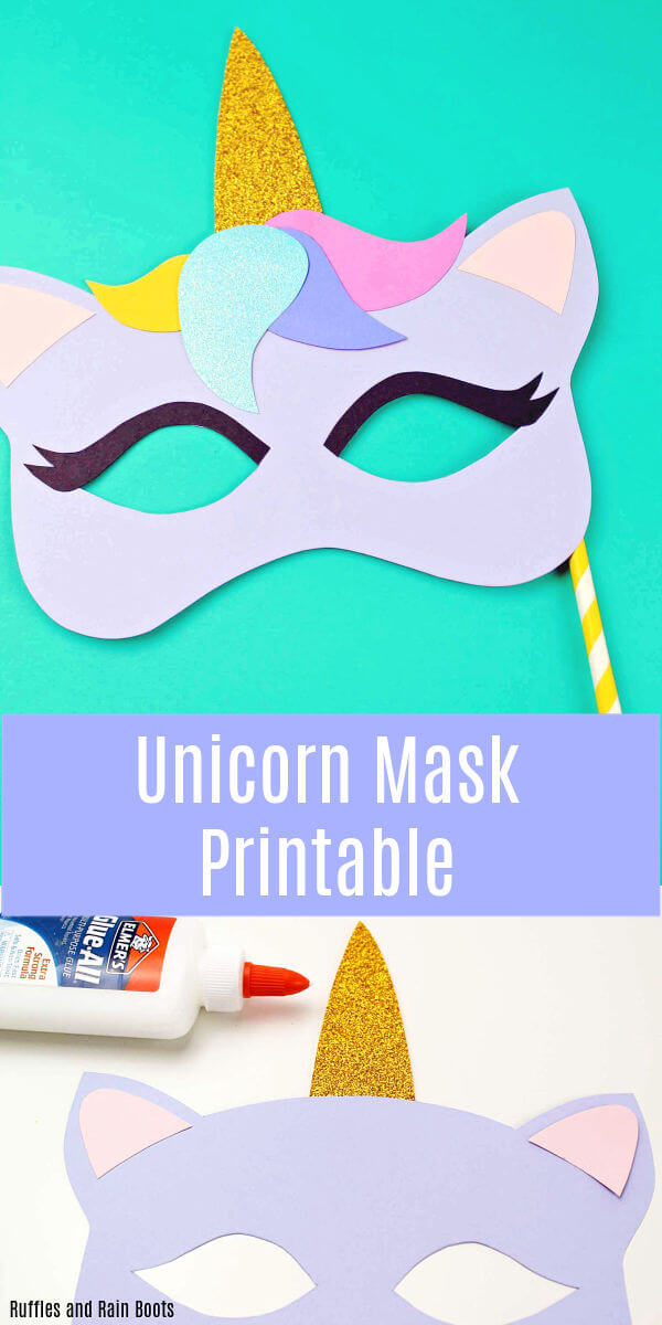 Free Printable Unicorn Mask - Coloring Page and Template - Ruffles