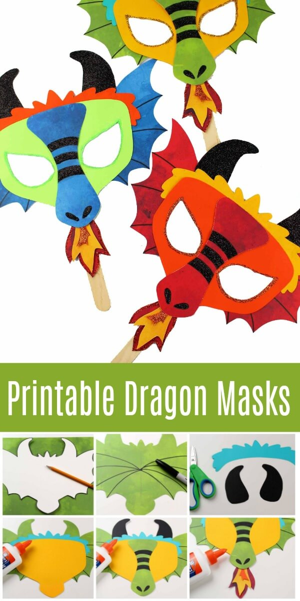 Printable Dragon Mask - Coloring Page and Template - Ruffles and