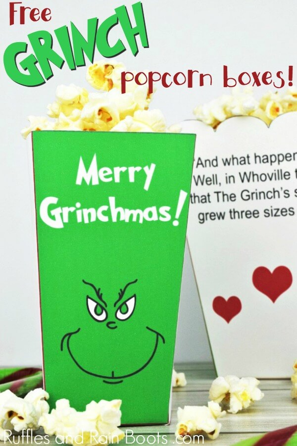 The Grinch Popcorn Box Printables for Family Movie Night - Ruffles