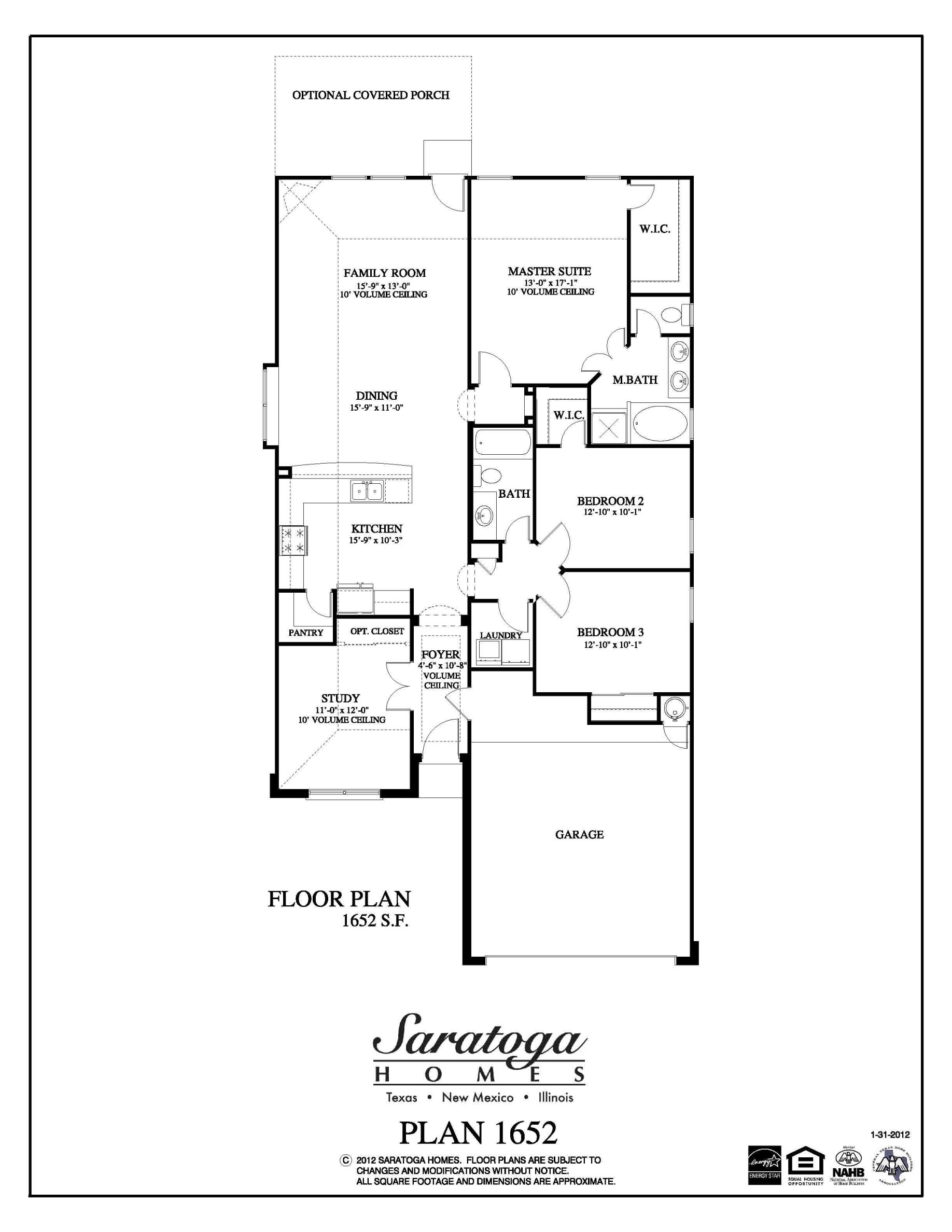 Housing Floor Plans Layout Plan 1652 Saratoga Homes Houston
