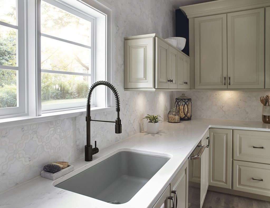 kitchen water essentials danze kitchen faucets The launch of The Foodie by Danze provides a commercially inspired kitchen faucet design at a smaller scale With its spring action wand the faucet swivels