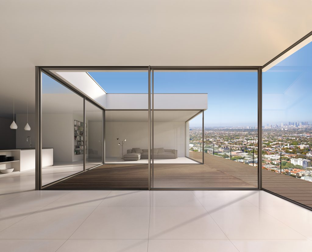 Open Glass Wall Minimal Framed Sliding Glass Wall System For Residential