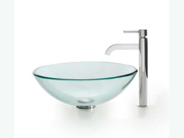 Kraus Vessel Chrome Faucet And American Standard Glass