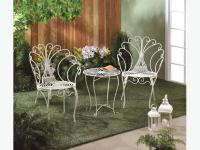 Elegant Fancy White Metal Chairs & Table Patio Furniture ...