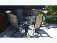 Hexagonal Glass-top wrought iron patio table Qualicum, Nanaimo