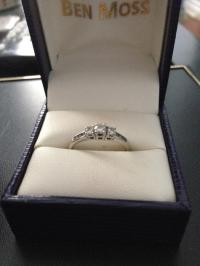 BEN MOSS white gold engagement and wedding ring set ...