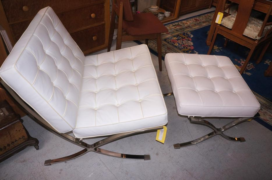 On Sale White Leather Barcelona Style Chair 197980 11